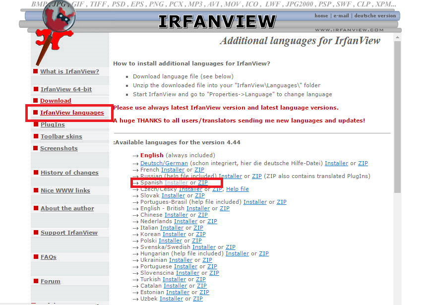 Descargar Irfanview en español
