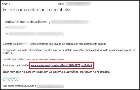 Falsos correos de Endesa Fuente: INCIBE