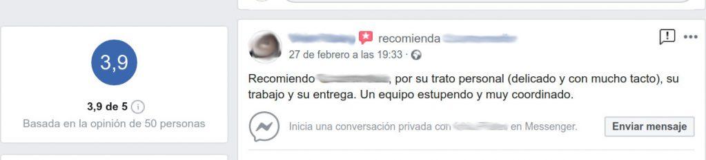 Recomendación en Facebook