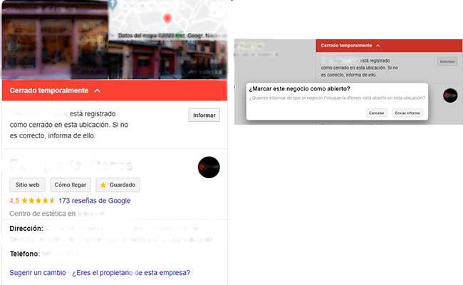 Eliminar cerrado temporalmente en Google