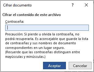 Paso 3 para poner contraseña a un documento
